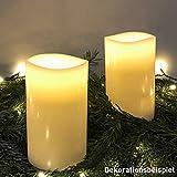 AMARE LED Echtwachskerzen 2er Set Weiß 7,5 x 12,5 cm (B x H) für Indoor Kerze, Echtwachs Kupfer,...