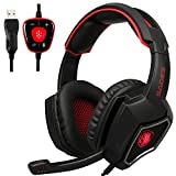 Anivia [New USB Computer Headset with Microphone] Spirit Wolf Over Ear 7.1 Surround Sound PC Gaming...