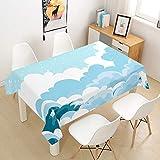Himlaya Tischdecke 3D Wolken Drucken Abwaschbar, Rechteckig Wachstuchtischdecke, Pflegeleicht...