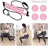 FABSELLER Pilates-Stangen-Set, tragbar, mit Widerstandsband, Pilates-Stange mit Fußschlaufe für...