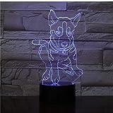 Russland Siberian Husky Dog 3D Lampe Illusion Nachtlicht Led-Lampe Multicolor Kreatives...