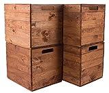 Vintage Möbel 24 GmbH 4X Schöne Korbkiste aus Holz, passend für Kallax IKEA, zum Verstauen von...