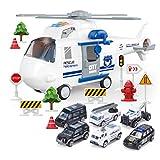 Sheuiossry Flugzeugauto Spielzeug-Set Musiklichter Simulation großes Thema Hubschrauber Flugzeug...