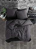Bettwäsche 155x220 cm. 4 teilig Set, Anthrazit, 100% Baumwolle/Renforcé mit Reißverschluss...