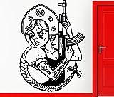 yaonuli Vinyl Aufkleber Russisches lustiges Mädchen mit dekorativen Wandaufklebern Hauptdekoration...