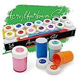 int!rend Acryl Farben Set Knstlerfarben mit Pinsel 14 Acrylfarben x 18 ml fr Kinder & Erwachsene,...