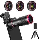 Handy Objektiv Kamera Linse Kit, 4 in 1 Universal 22X Teleobjektiv + 0,62X Weitwinkel + 25X Makro +...