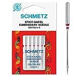 SCHMETZ Nähmaschinennadeln 5 Stick-Nadeln | 130/705 H-E | Nadeldicke: 75/11| geeignet für das...
