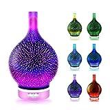 H/L 3D-Feuerwerk Emotionalität Luftbefeuchter, 7 Farbe Glas Ultraschall Ätherisches Öl Diffusoren...