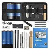 Idealeben 35 Stück Skizze Bleistift Zeichenwerkzeuge Satz, Skizzierstiftset, Profi-Zeichenset für...