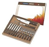 Tramontina 29899/211 BBQ Grillbesteck, Set 14 teilig, Grillset mit Steakbesteck, Tranchiergabel und...