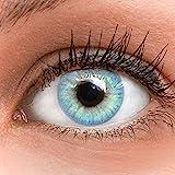 GLAMLENS Jasmine Light Blue Blau + Behälter | Sehr stark deckende natürliche blaue Kontaktlinsen...