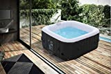 Arebos aufblasbarer Whirlpool In-Outdoor - 4 Personen – 130 Düsen - 154 x 154 cm – 550 Liter -...