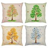 Bonhause 4er Set Kissenbezüge 45 x 45 cm Jahreszeiten Baum Frühling Sommer Herbst Winter Baumwolle...