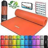 POWRX Gymnastikmatte Yogamatte inkl. Übungsposter I Trainingsmatte Phthalatfrei 183 x 60 x 1 cm I...