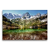 CALVENDO Premium Textil-Leinwand 75 x 50 cm Quer-Format Traumhafte Alpen - Bergseen und Almen,...