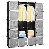 Hengda 20 Wrfel DIY Regalsystem Kleiderschrank Offen Kunststoff Garderobe mit Tren Garderobenschrank...