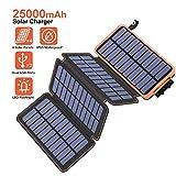 Hiluckey Solar Powerbank 25000mAh, Solar Ladegert Wasserdicht mit 2 USB 2,1A Ausgngen Tragbares...