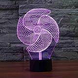 BDDLLM 3D Big Windrad Nachtlicht Led Bunte Acryl Touch Tischlampe Nachttischlampe Decor Usb Baby...