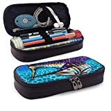Blue Marlin Large Capacity Leather Pencil Case Durable Zipper Student Pouch Bag Pencil Box For Work...