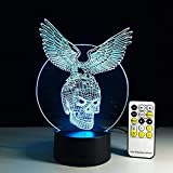3D-Illusionslicht LED-Nachtlicht LED Kindernachtlicht Adlerschädel Ideal Als Geschenk Mit...
