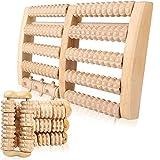 Fußmassageroller Holz mit Handmassageroller Fuß Massage für Stressreduzierung, Krämpfen,...