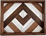 Arce Home - Premium rustikales Holztablett mit handgemalten Holzleisten und eingearbeiteten Griffen...