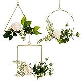 Feelava Metallblumenreifen, 3 Stück, Wandbehang Blumenreifen, geometrische Kranz, künstliche Rosen...
