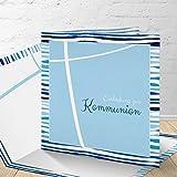 5 Karten zur Kommunion mit passenden Umschlgen, Motiv'blaue Streifen', Einladungskarten zur...