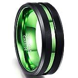 NUNCAD Ring Hochzeit Damen/Frauen schwarz-grn Wolframcarbid, 8mm Unisex Ring mit grnem Groove,...