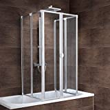 Schulte Duschabtrennung faltbar für Badewanne 70-80 cm, einfache Montage zum Kleben, Kunstglas...