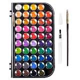 TIANTIAN Aquarellfarben-Set, 48 Farben, Wasserfarben, Kuchen und ein Pinsel, ein nachfüllbarer...