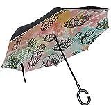 ETGeed Inverted Inverted Umbrella Bunter schner Kunstgemse Ladies Reverse Umbrella fr Regen