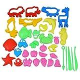 TOYMYTOY Knetwerkzeug Plastilin Teig Werkzueg Kinder Ausstechformen Spielzeug Knetset 34 Stücke