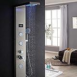 Auralum Edelstahl Duschpaneel LED Temperatur Bildschirm mit Handbrause Massagedsen, Wasserfall und...