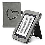 kwmobile Flip Hülle kompatibel mit Amazon Kindle Paperwhite - Handschlaufe - Cover Herz Brush Grau...