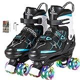 arteesol Rollschuhe Verstellbare Quad Roller Skates mit Leuchtenden Rädern Bequem und Atmungsaktiv...