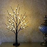 EAMBRITE Kirschblütenbaum Led Warmweiß 60cm Haus Tisch Silikonkirschblüte Leuchtbaum Innen...