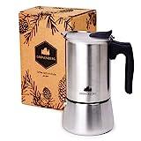 Groenenberg Espressokocher Induktion geeignet | Edelstahl | 6 Tassen Espressokanne | Mokkakanne 300...