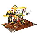 Dickie Toys Baustellen Spielset mit Spiralbahn und 4 Spielzeugautos, mit Kran, Abrisskugel, man....