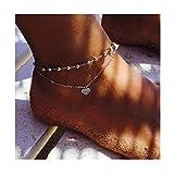 Edary Boho-Doppelherz-Fußkettchen, Vintage-Perlenkette, für Strand, auch als Armband, Schmuck für...