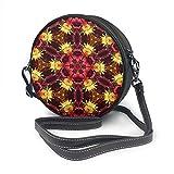 Rterss Kaleidoscope Umhängetasche mit digitaler Struktur, rund, Leder, Vintage-Stil, verstellbarer...