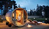 FinnTherm Fass-Sauna Sam, unbehandelt/Natur, inkl. Holz-Ofen (18 kW), 40 mm Wandstärke (219,5 cm x...