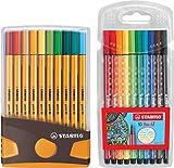 Fineliner - STABILO point 88 ColorParade - 20er Tischset in Anthrazit/Orange - mit 20 verschiedenen...