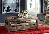 MASSIVMOEBEL24.DE Sheesham Massivholz Couchtisch 120x70 Palisander Möbel massiv Holz Nature Grey...