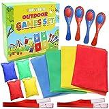 Set mit 4 Party Spielen Gartenspiele - Beinhaltet 4 Sackhüpfen Säcke, 3 Beinlauf, 4 Eierlauf &...