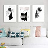 EDGIFT2 Abstract Fashion Lady Canvas Painting Women Poster Print Black White Nordic Wall Art...
