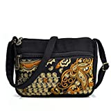 CHEORLIANWind Embroidery Bag Canvas Women'S Messenger Bag Golden embroidery 18 * 10 * 16CM