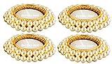 Bombay Haat 4er Set Designer Perlen-Teelichthalter für Hochzeit, Party, Spa, Aromatherapie,...