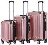BEIBYE Zwillingsrollen 2048 Hartschale Trolley Koffer Reisekoffer Taschen Gepck in M-L-XL-Set (Rosa...